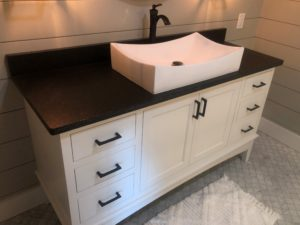 Cabinets, Granite Vanity Top, and Drop-in Sink